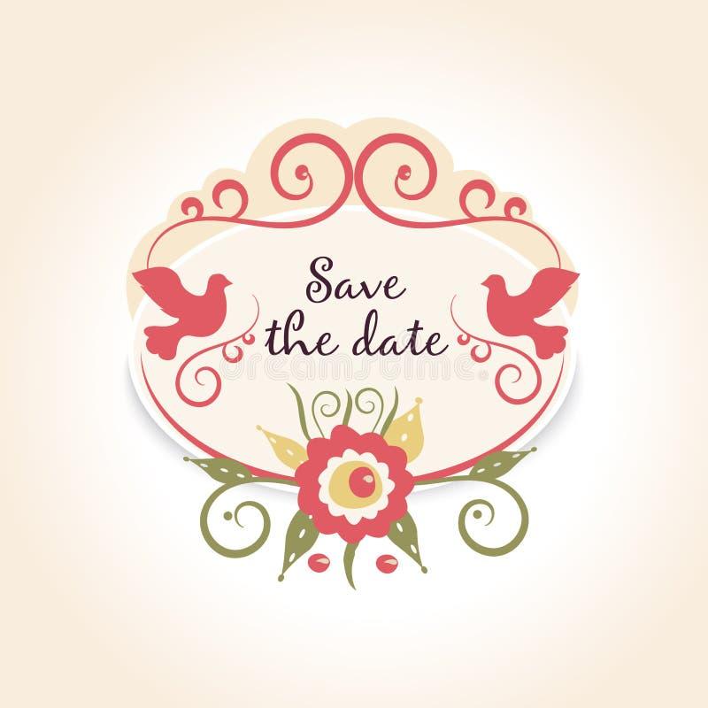 Uitstekend huwelijkskenteken met bloemendecoratie Een malplaatje met voorbeeldtekst bewaart de datum vector illustratie