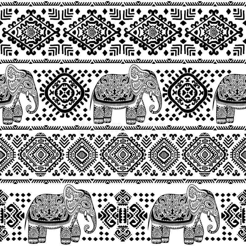 Uitstekend Indisch olifants naadloos patroon met stammenornamenten vector illustratie