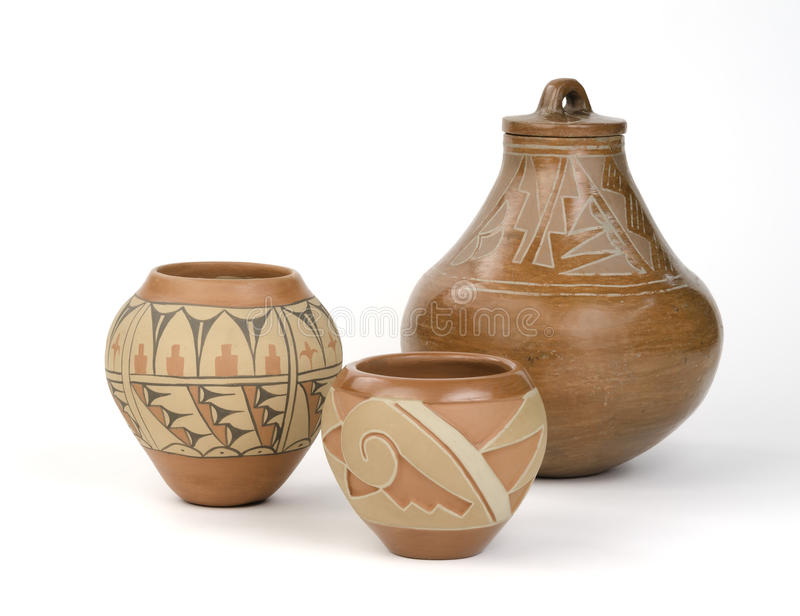Uitstekend, Inheems Amerikaans Pueblo-Aardewerk. royalty-vrije stock afbeeldingen