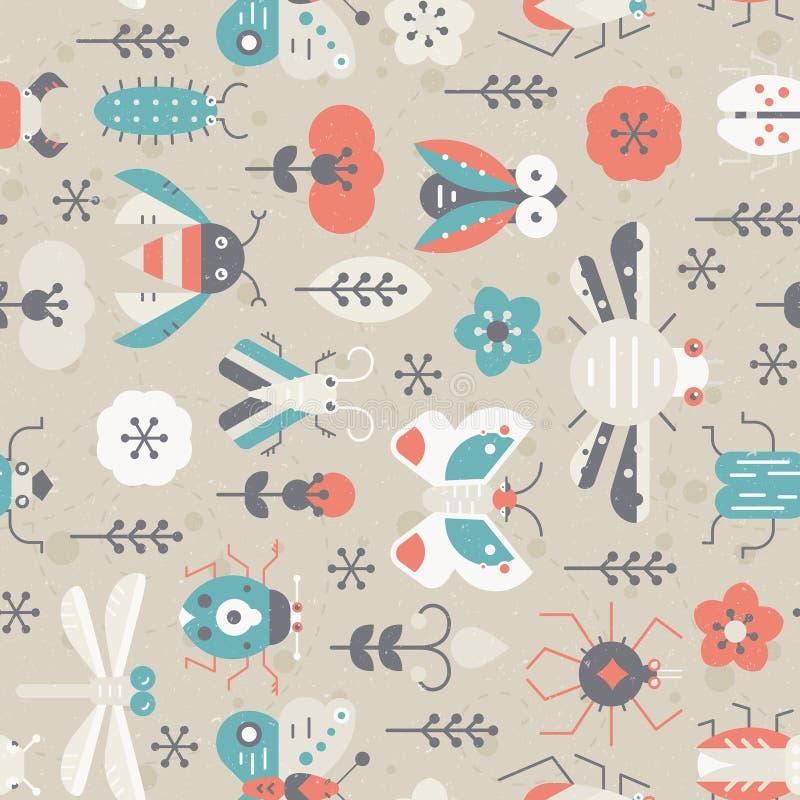 Uitstekend Insectenpatroon royalty-vrije illustratie