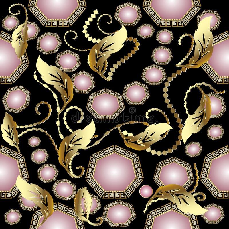 Uitstekend juwelen 3d naadloos patroon royalty-vrije illustratie