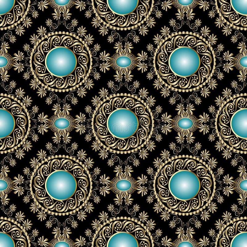 Uitstekend juwelen gouden overladen 3d naadloos patroon royalty-vrije illustratie