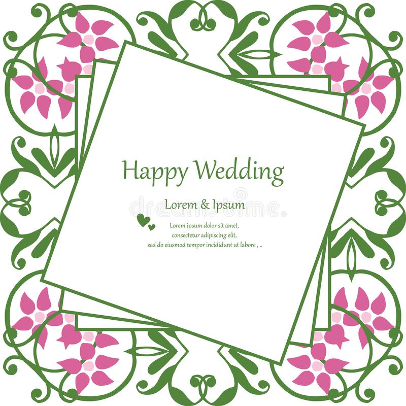 Uitstekend kader, de bloemkader van het ontwerpelement, het gelukkige huwelijk van de uitnodigingskaart Vector vector illustratie