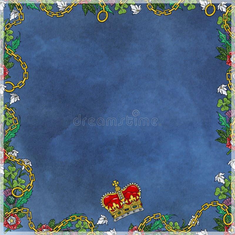 Uitstekend kader, met blauw, bloemen en bladeren met kettingen en kroon stock illustratie