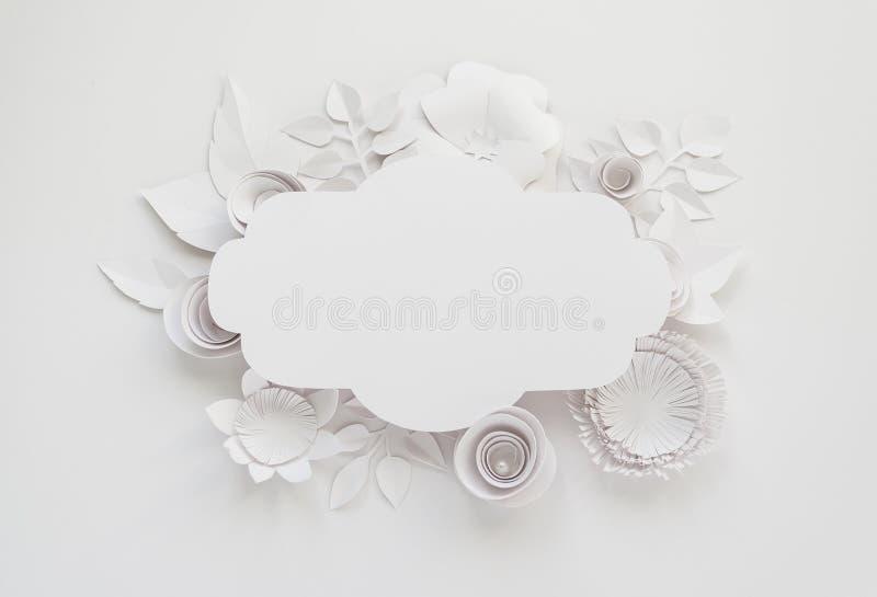 Uitstekend kader met document bloemen stock foto's