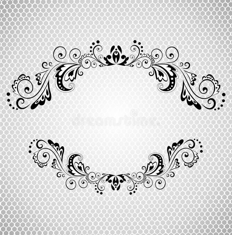 Uitstekend kader met kanten (zwart-witte) achtergrond stock illustratie