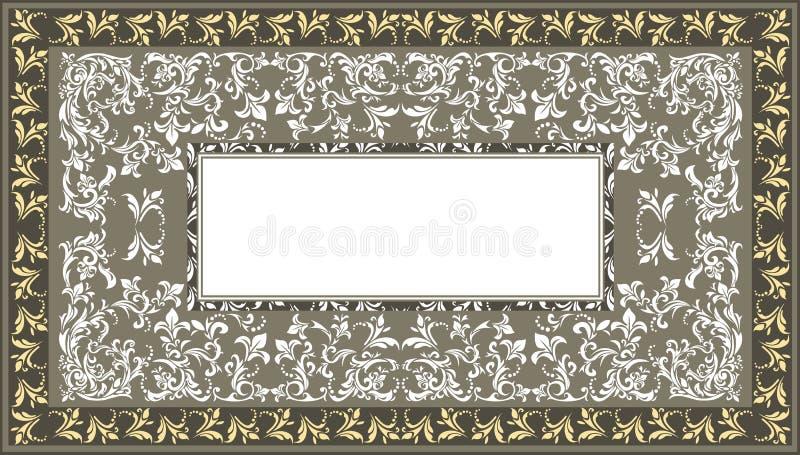 Uitstekend kader met klassiek bloemenornament en decoratief vector illustratie