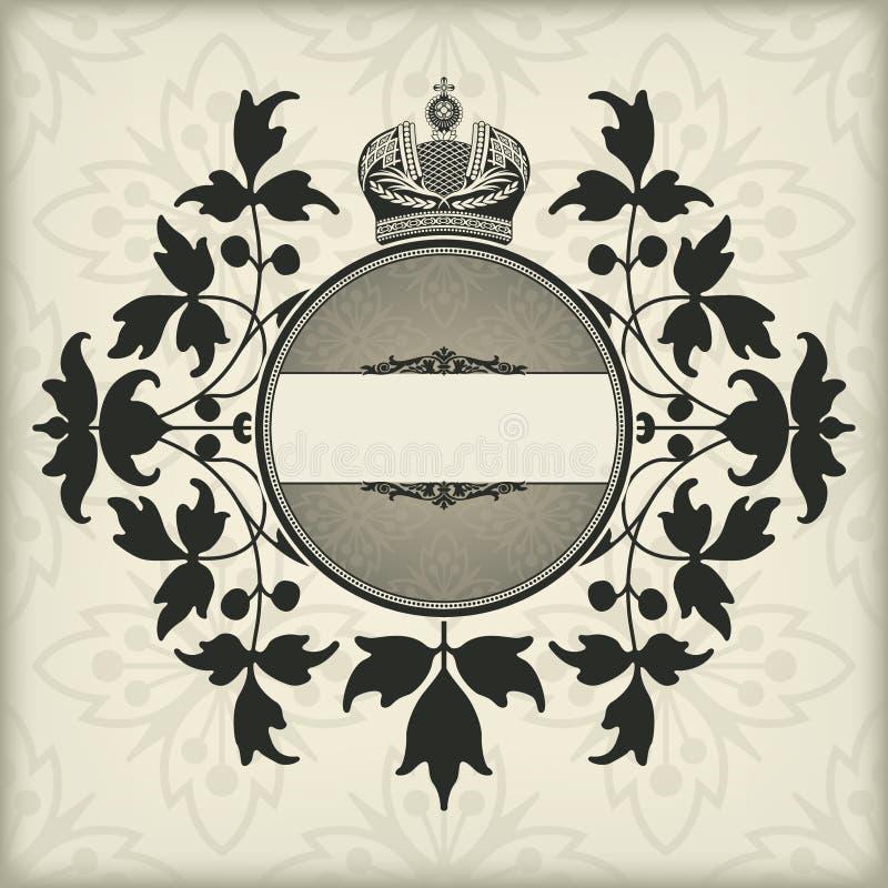 Uitstekend kader met kroon vector illustratie