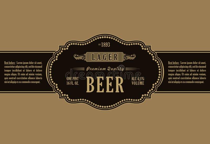 Uitstekend kaderetiket Het gouden bier van de stickerfles vector illustratie