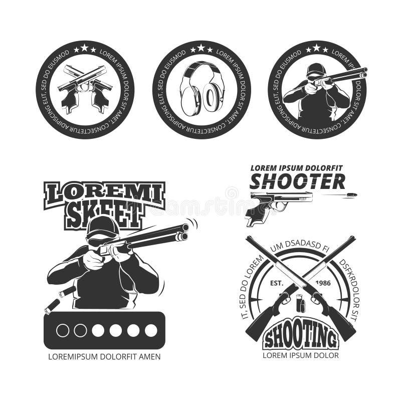 Uitstekend kanon, de vectoretiketten van de pistoolclub, emblemen, kentekens, emblemen royalty-vrije illustratie