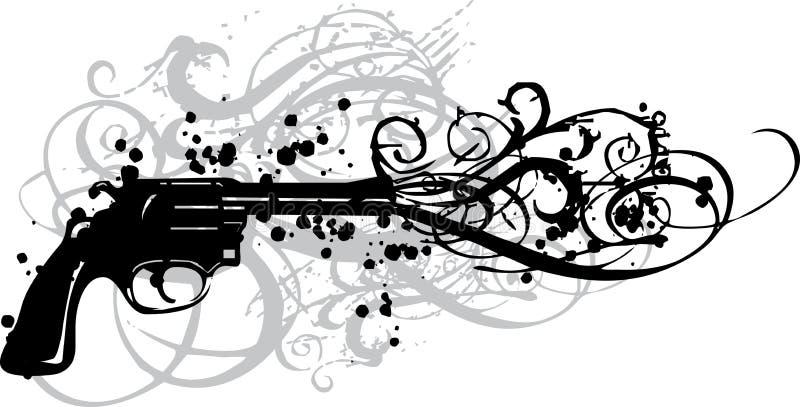 Uitstekend kanon met grungy wervelingen stock illustratie