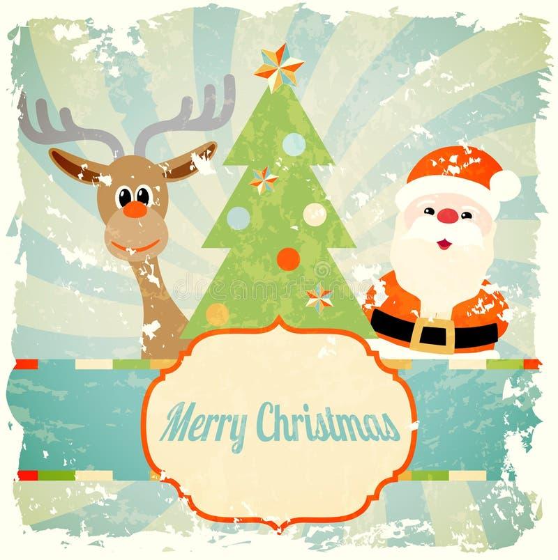 Uitstekend Kerstmisthema met santa en rendier royalty-vrije illustratie