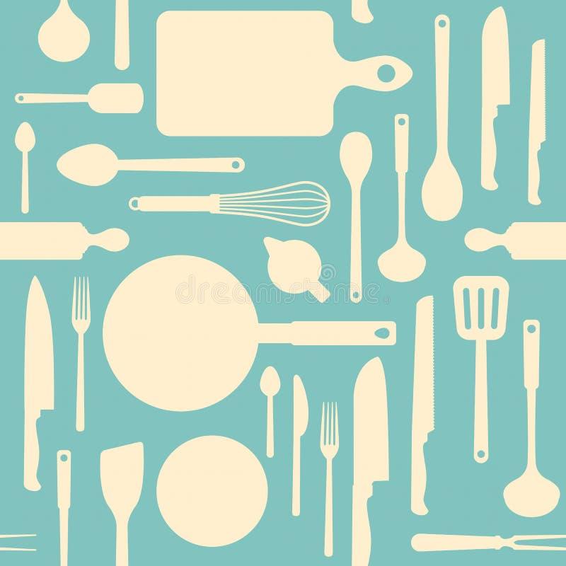 Uitstekend keukengereedschappatroon stock illustratie