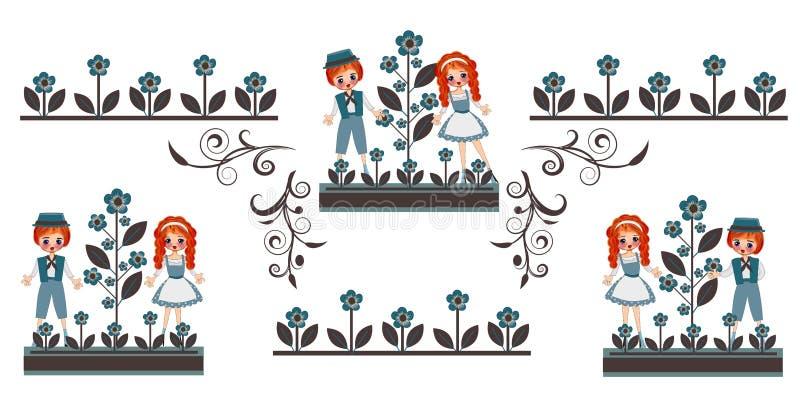 Uitstekend kinderen traditioneel kostuum vector illustratie