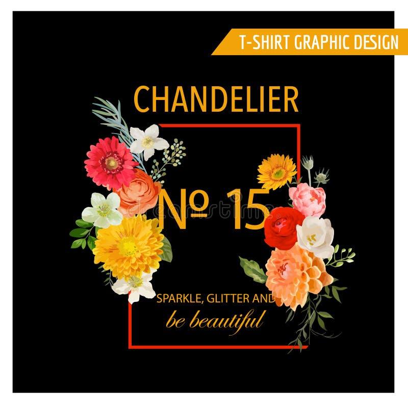 Uitstekend Kleurrijk Bloemen Grafisch Ontwerp - voor t-shirt, manier stock illustratie