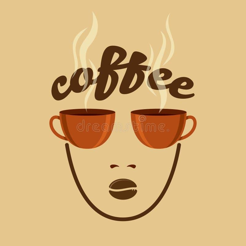 Uitstekend Koffieconcept met koffiemok en bonen vector illustratie