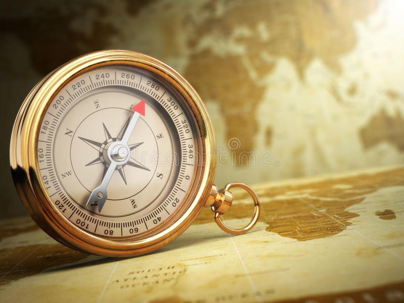 Uitstekend kompas op de oude wereldkaart reis concept stock illustratie