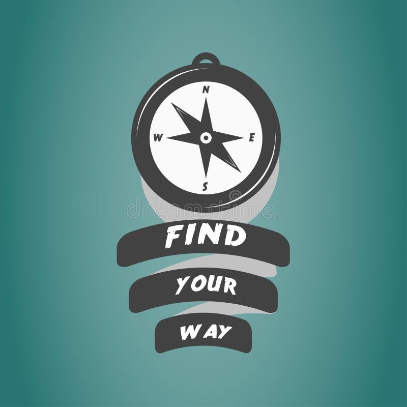 Uitstekend kompasembleem met motivatietekst royalty-vrije stock afbeelding