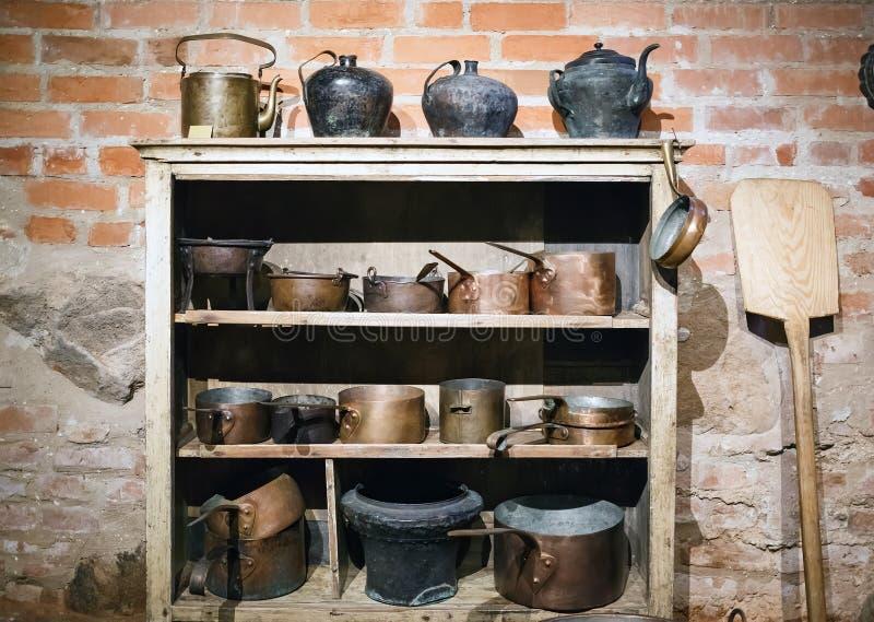 Uitstekend koper cookware royalty-vrije stock foto