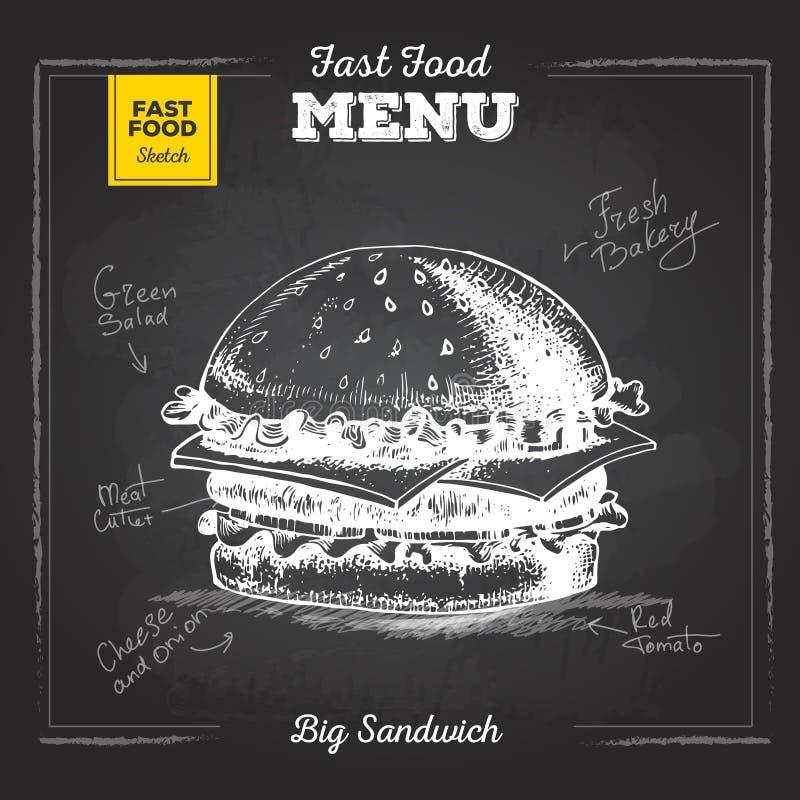 Uitstekend krijt die snel voedselmenu trekken Sandwich royalty-vrije illustratie