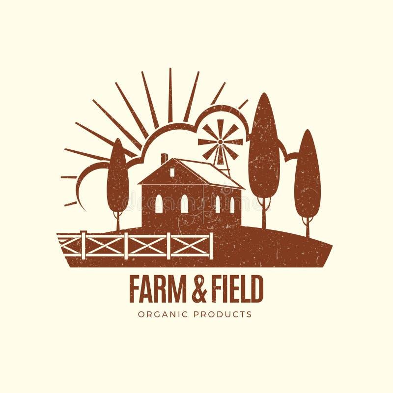Uitstekend landelijk landbouwbedrijfembleem met landbouwbedrijfhuis stock illustratie