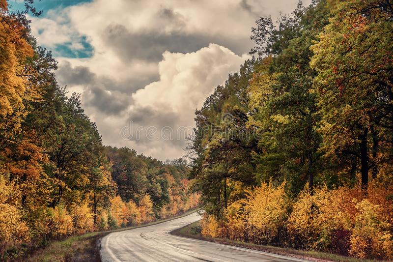 Uitstekend landschap met de herfstweg stock afbeelding