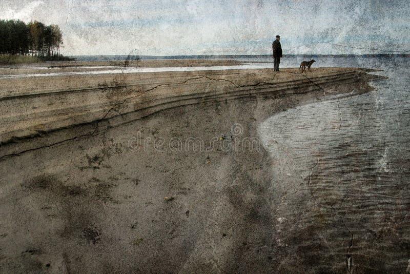 Uitstekend landschap met de man en een hond royalty-vrije stock afbeeldingen
