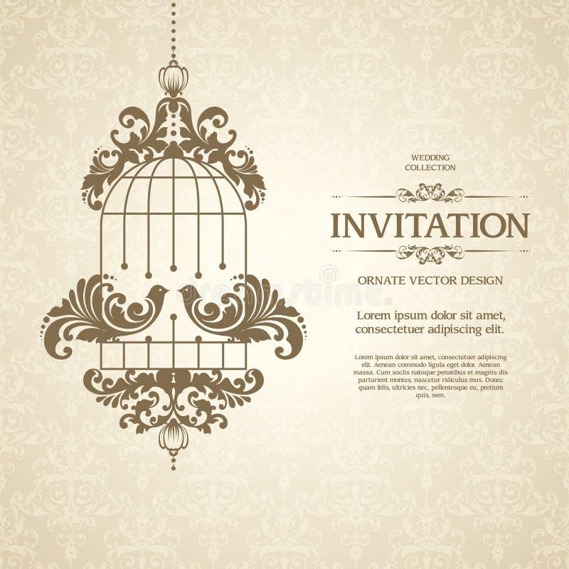 Uitstekend malplaatje met naadloos patroon, decoratieve kader en liefdevogels Het sierontwerp van de kantpastelkleur voor huwelij stock illustratie