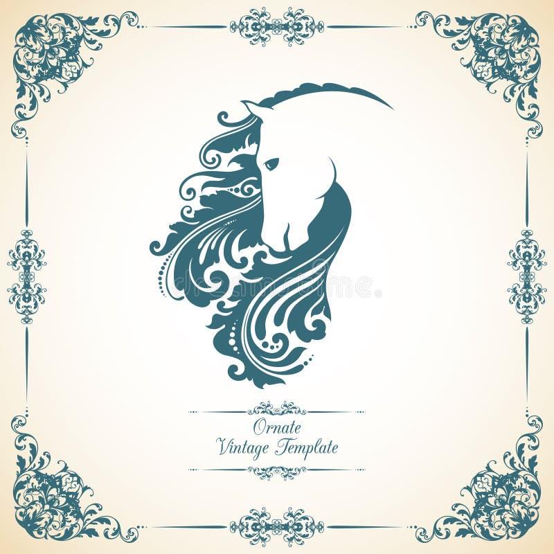 Uitstekend malplaatje met ornament en decoratief bloemenpaard royalty-vrije illustratie