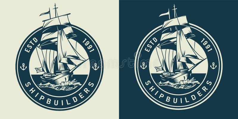 Uitstekend marine en overzees embleem stock illustratie
