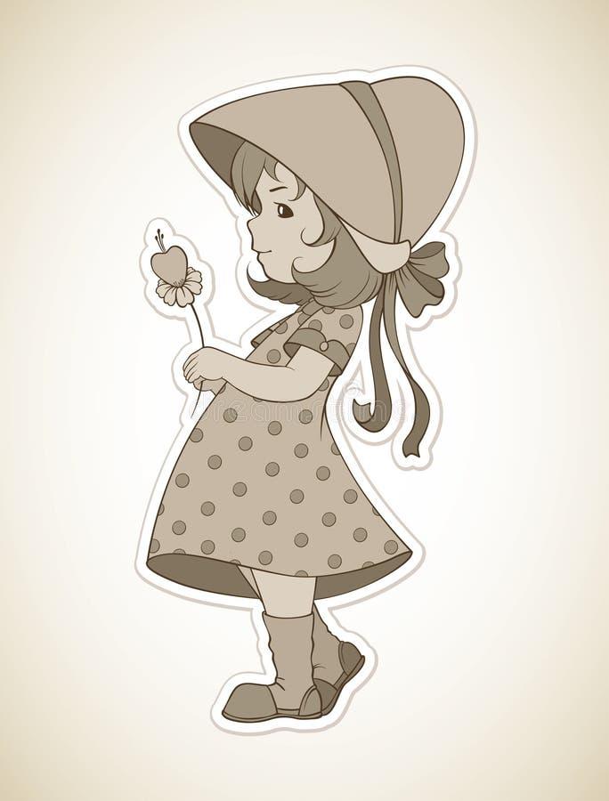 Uitstekend meisje met bloem stock illustratie