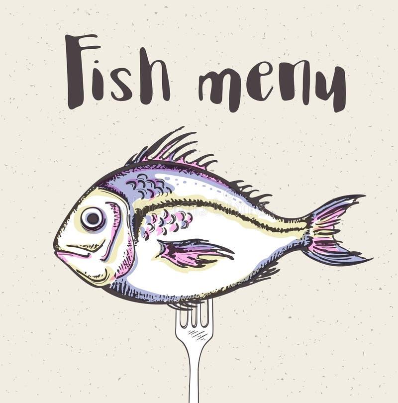 Uitstekend menu met vissen en vork royalty-vrije illustratie