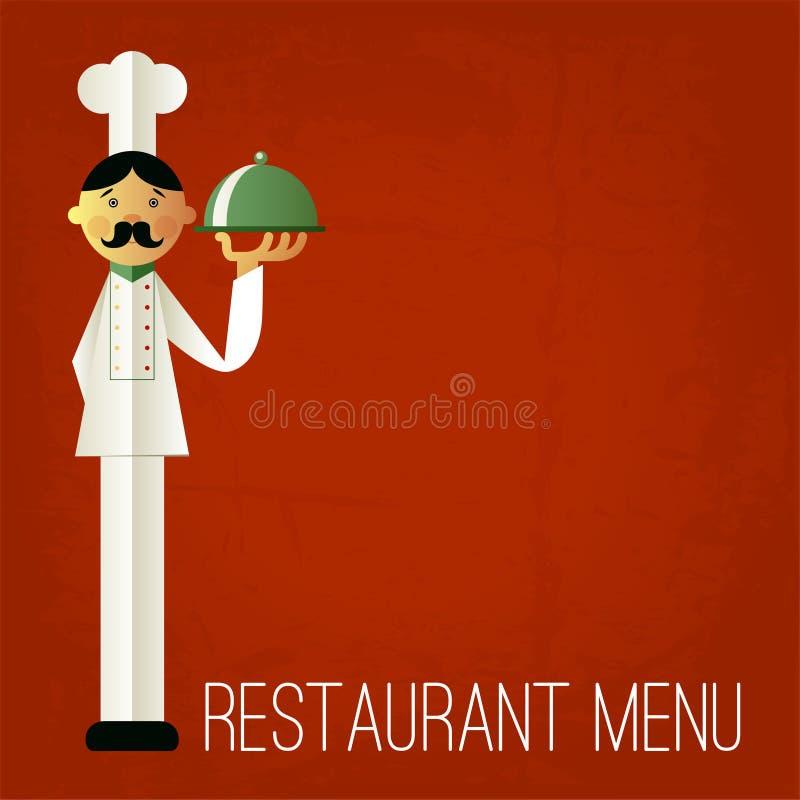 Uitstekend menu Retro ontwerpmalplaatje Het menu van de vectorchef-kok stock illustratie
