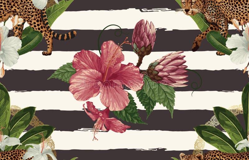 Uitstekend Mooi en in Naadloos Tropisch Patroonontwerp in super hoge resolutie De Textuur van de patroondecoratie Uitstekende sti royalty-vrije illustratie