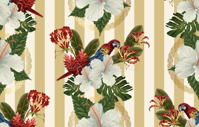 Uitstekend Mooi en in Naadloos Tropisch Patroonontwerp in super hoge resolutie De Textuur van de patroondecoratie Uitstekende sti vector illustratie