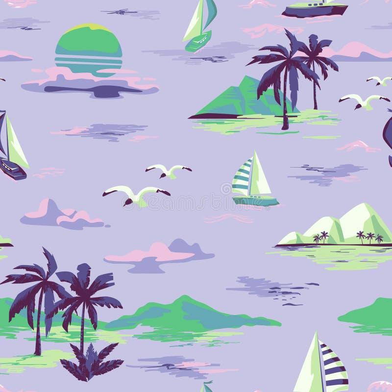 Uitstekend Mooi naadloos eilandpatroon op witte achtergrond Landschap met palmen, jacht, strand en oceaanhand getrokken stijl royalty-vrije illustratie