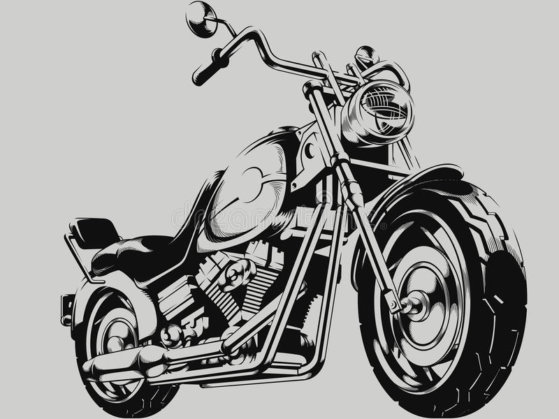 Uitstekend Motorfiets Vectorsilhouet vector illustratie