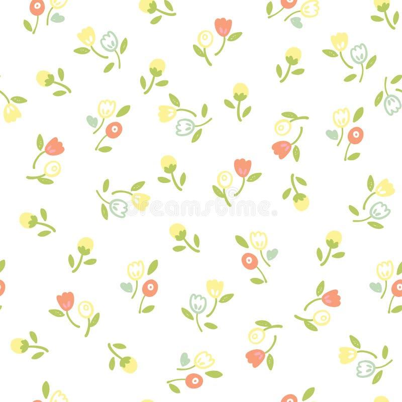 Uitstekend naadloos bloemenpatroon stock illustratie