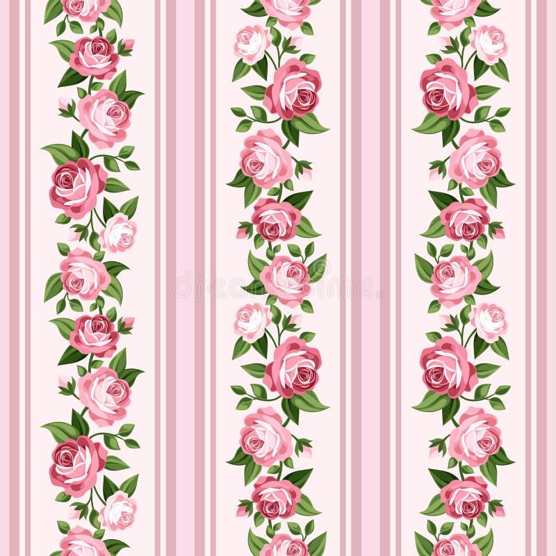 Uitstekend naadloos gestript patroon met roze rozen royalty-vrije illustratie