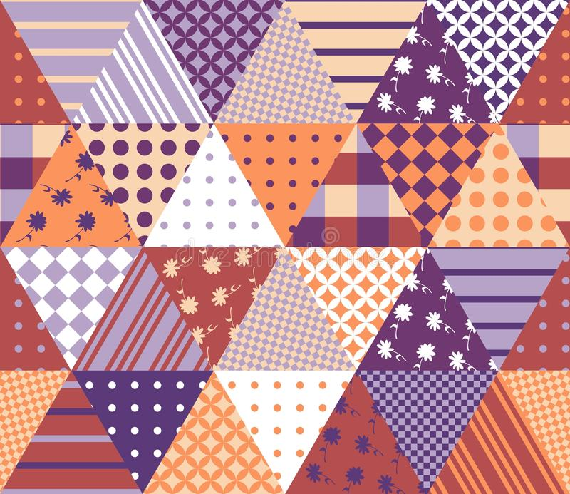 Uitstekend naadloos lapwerkpatroon Geometrische driehoekstegels vector illustratie