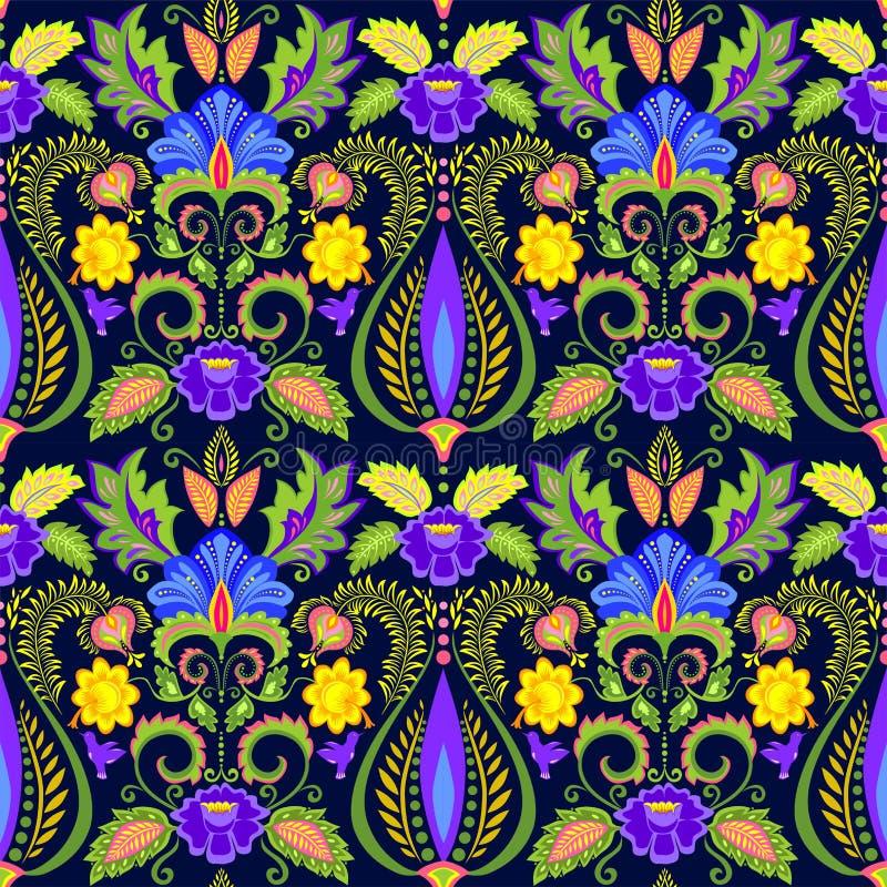 Uitstekend naadloos overladen zijdebehang met exotische bloemenpatroon en veren stock illustratie
