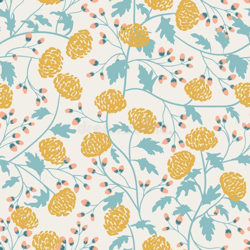 Uitstekend naadloos patroon met chrysant voor textielontwerp Behang, stof, textiel Bloesem bloemen naadloos royalty-vrije illustratie