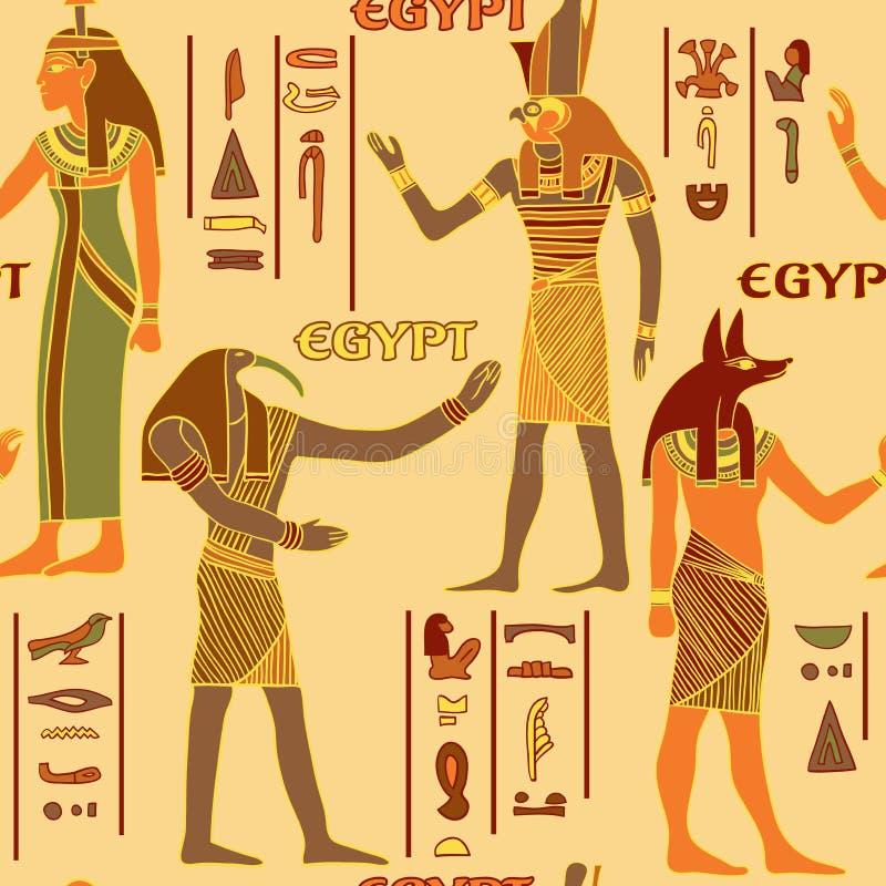 Uitstekend naadloos patroon met Egyptische goden en oude Egyptische hiërogliefen vector illustratie
