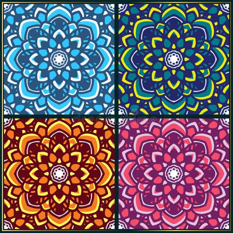 Uitstekend naadloos patroon met het Indische ornament van de mandalakunst stock illustratie