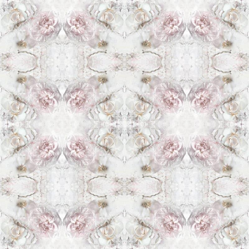 Uitstekend naadloos patroon met pioenbloemen, rozen stock illustratie
