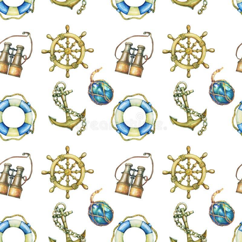 Uitstekend naadloos patroon met zeevaartelementen, op witte achtergrond Oude binoculaire overzees, reddingsboei, antieke zeilboot stock illustratie