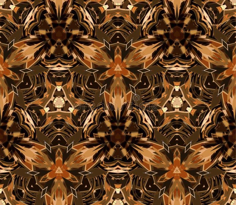 Uitstekend naadloos patroon Samengesteld uit kleuren abstracte die vormen op een gele achtergrond worden gevestigd stock illustratie