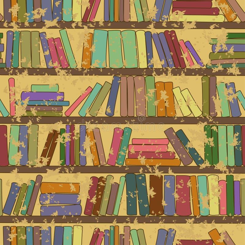 Uitstekend naadloos patroon van boekenrek met boeken royalty-vrije illustratie