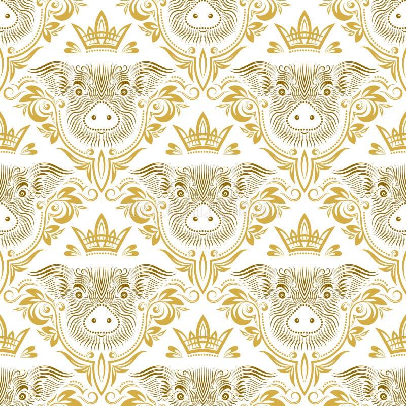 Uitstekend naadloos patroon van het herhalen van varkenssnuit in bloemenornament met kroon Gift het verpakken voor Chinees Nieuwj stock illustratie