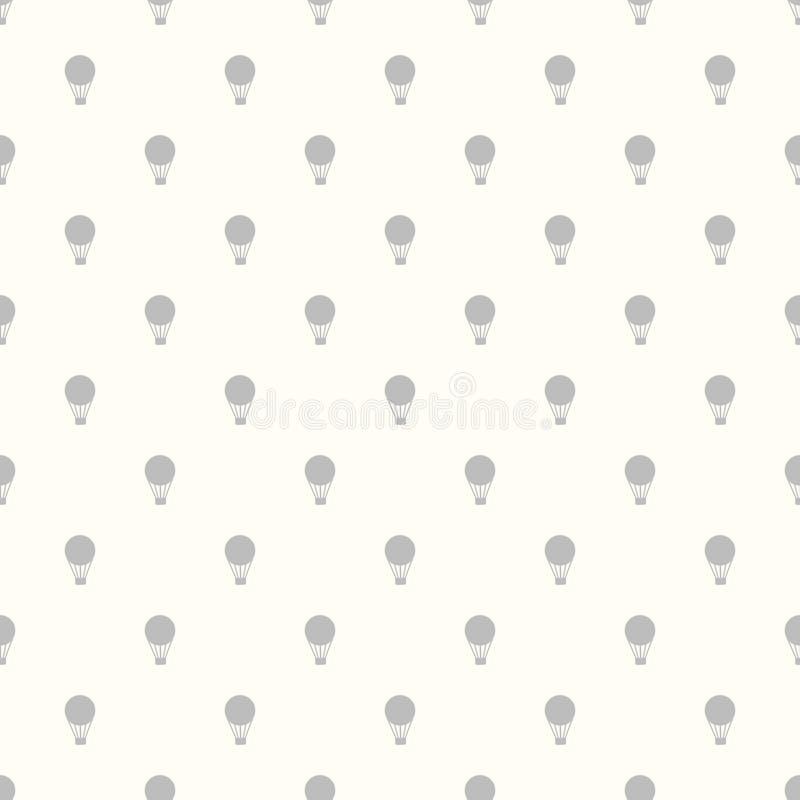 Uitstekend naadloos patroon van hete luchtballons stock illustratie
